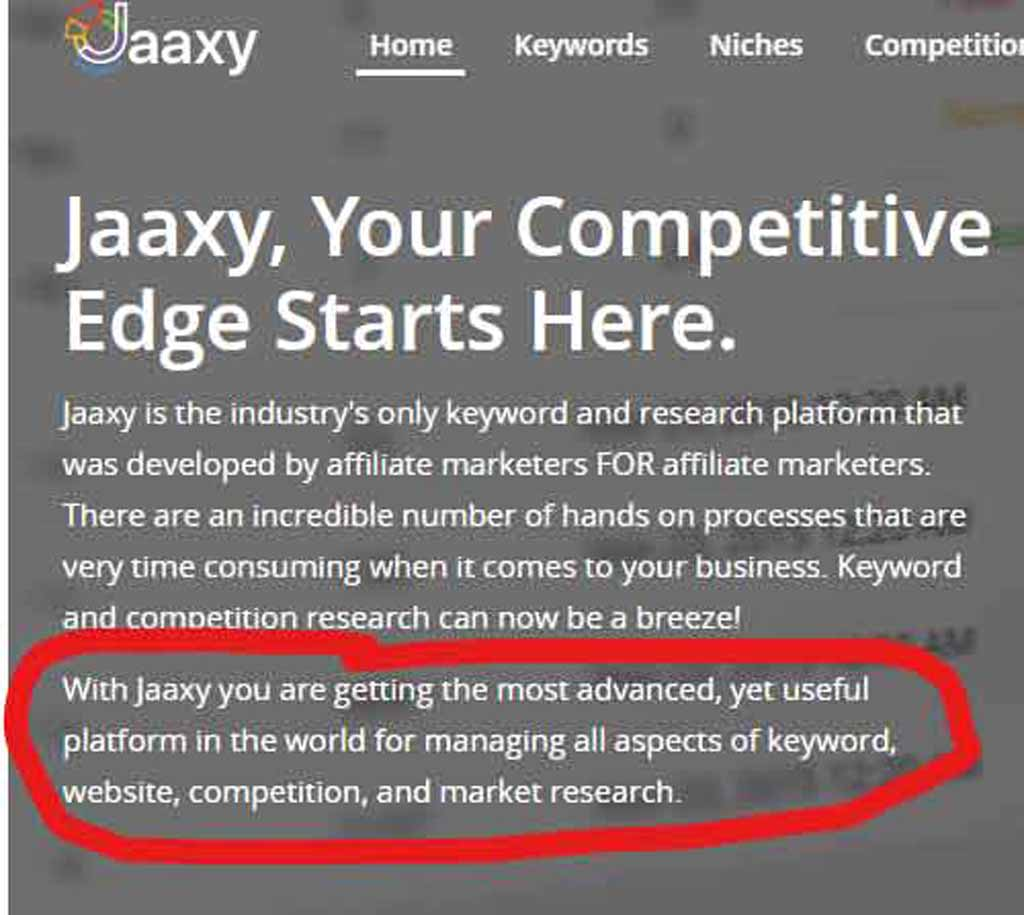 Screenshot from the Jaaxy Website