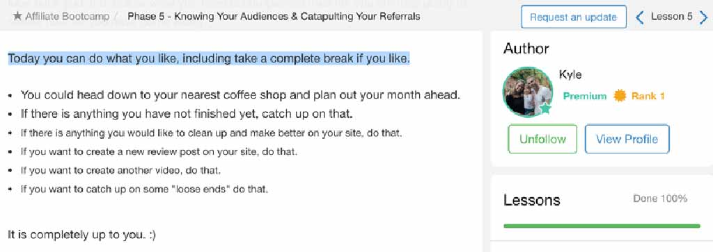 Wealthy Affiliate Kyle encourages you to take another break